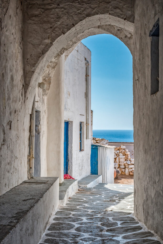 View of alley in Chorio Kimolou Cyclades Greece