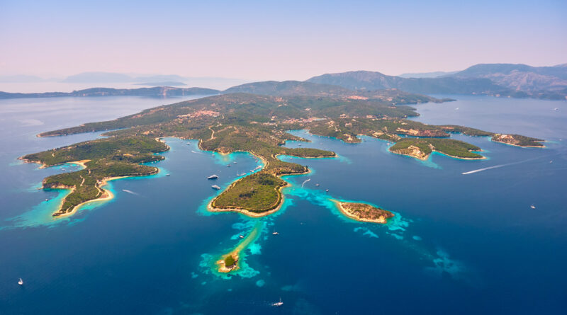 Magical aerial view of Meganisi island, Ionian Sea Greece