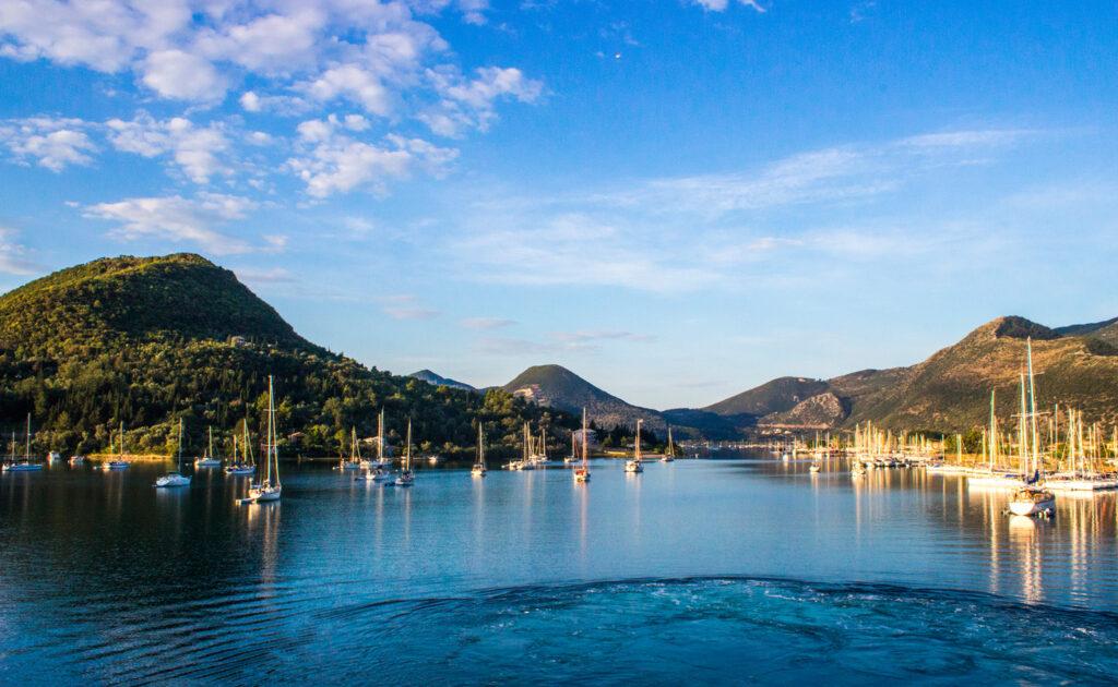 Vathy port, Meganisi island in the Ionian Sea Greece