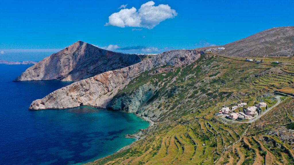 Medelli beach with crystal clear sea and rocky ea shore, Folegandros island Cyclades Greece