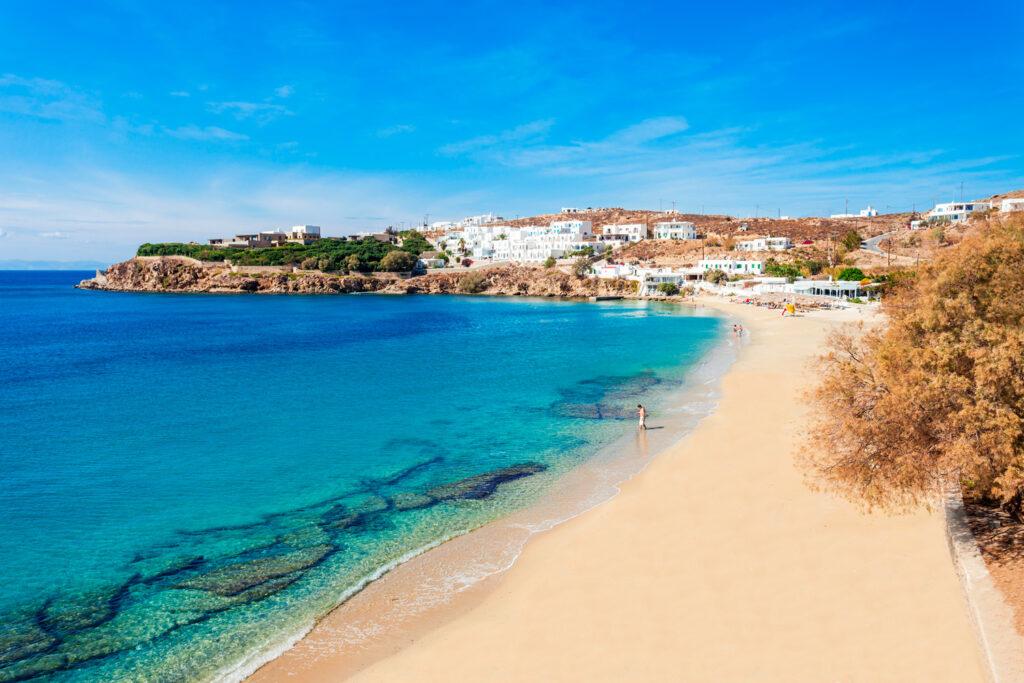 Agios Stefanos beach on Mykonos island Cyclades Greece