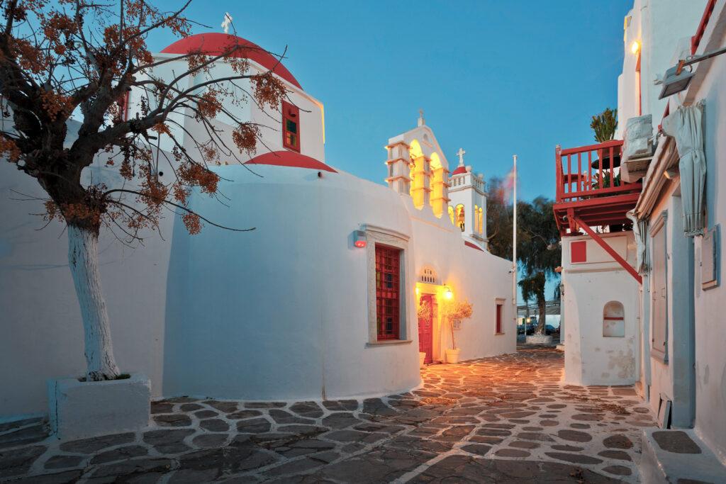 Byzantine church in a street of Mykonos town on early morning, Mykonos, Cyclades Greece