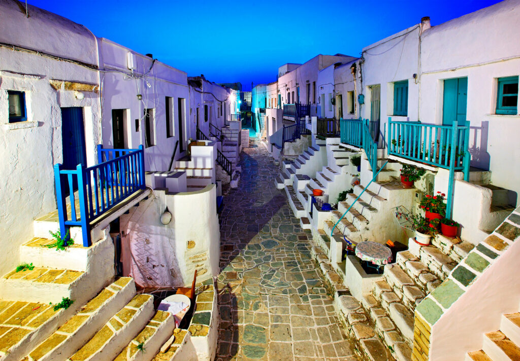 The central alley in the Castle of the Chora, the capital of Folegandros, called Grand Rua by the locals, Cyclades, Greece