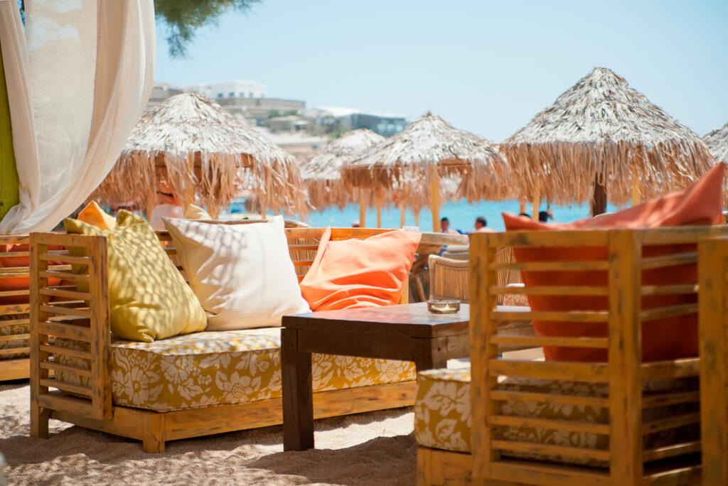 Restaurant at Paradise beach, Mykonos, Cyclades Greece