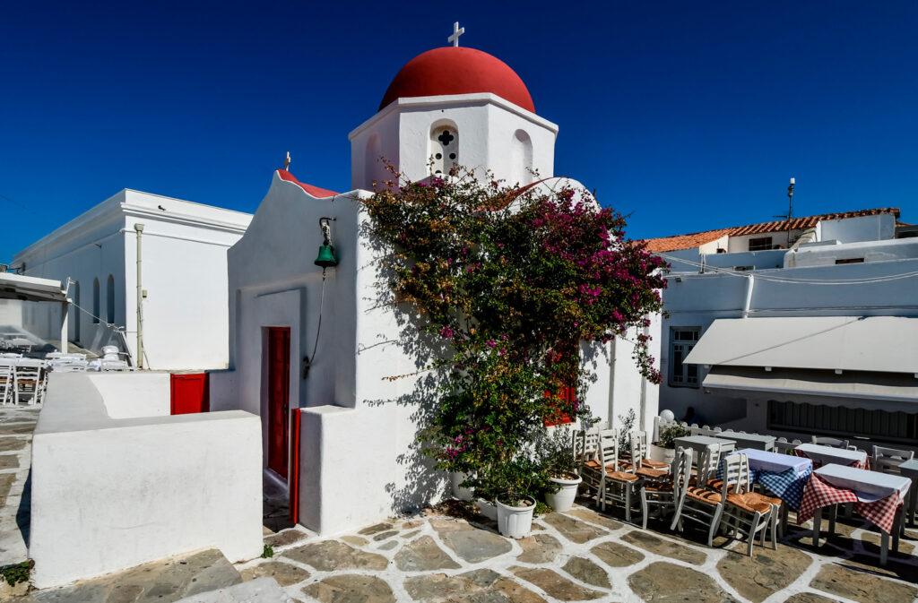 Church in Chora, Mykonos island, Cyclades Greece
