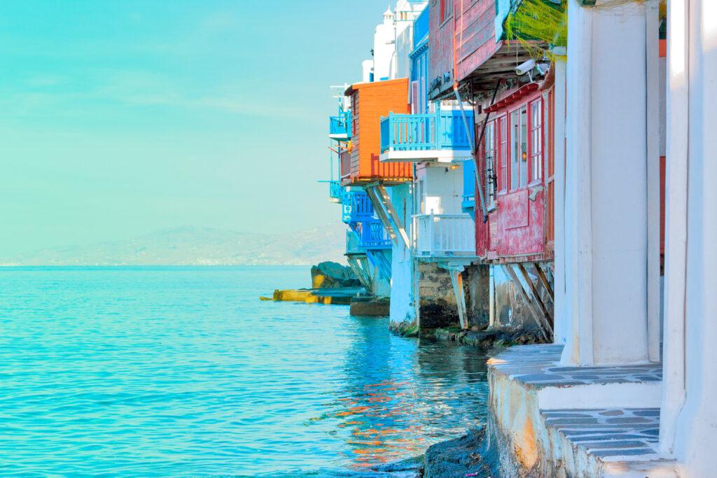 closeup on little Venice Mykonos capitol - Cyclades Greece