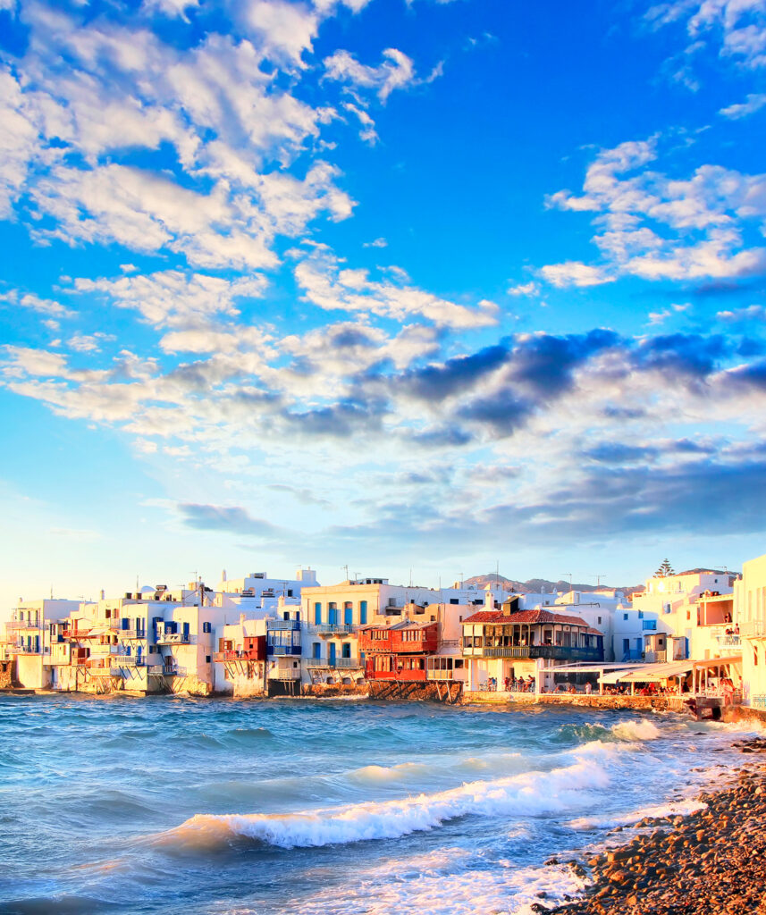 Colourful Little Venice at Mykonos Town seafront, Mykonos, Cyclades Greece