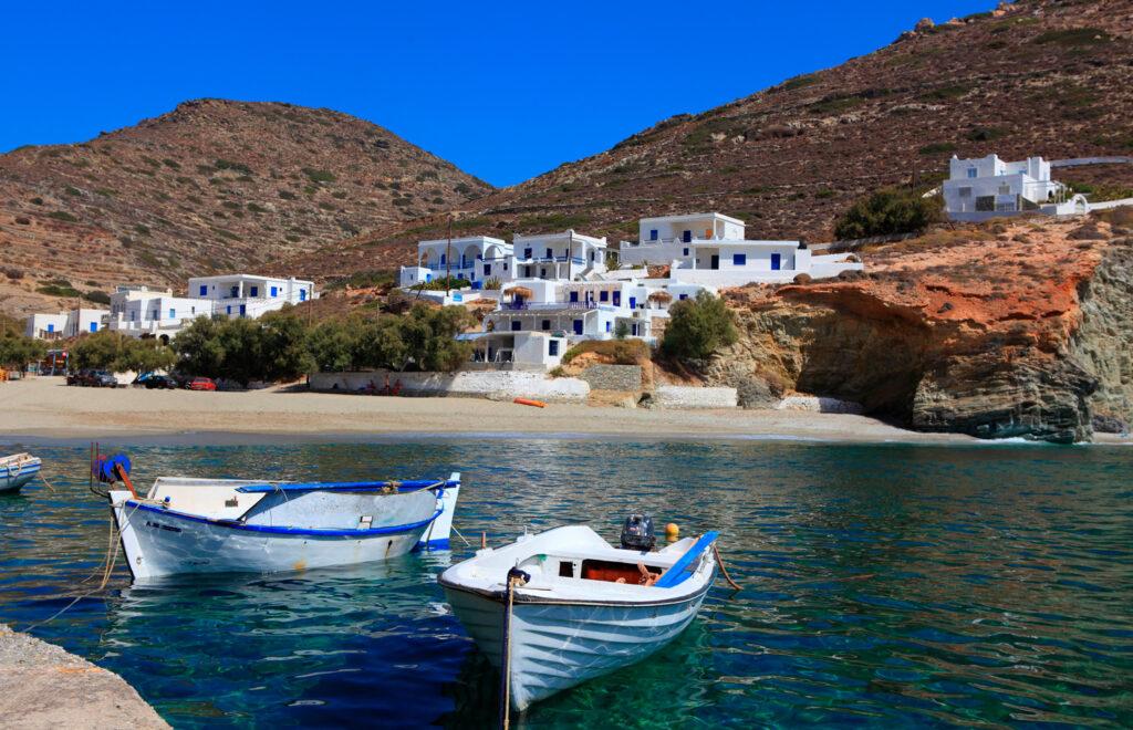Fishing boats at the coast of Folegandros, Cyclades, Greece