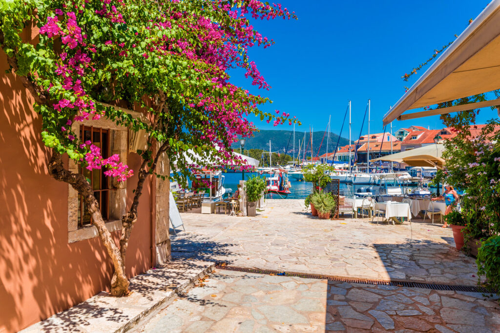 Fiskardo village and harbour in Kefalonia Greece