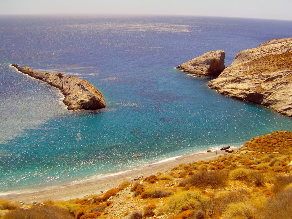 Travel to Folegandros, Cyclades, Greece - beach and rockformations