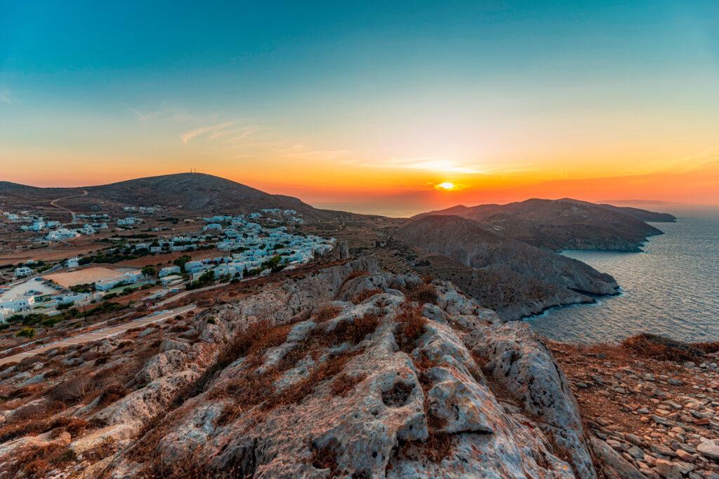 Folegandros island at sunset, Cyclades, Greece