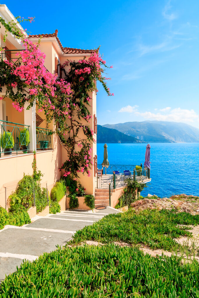 View of Assos village Kefalonia Greece