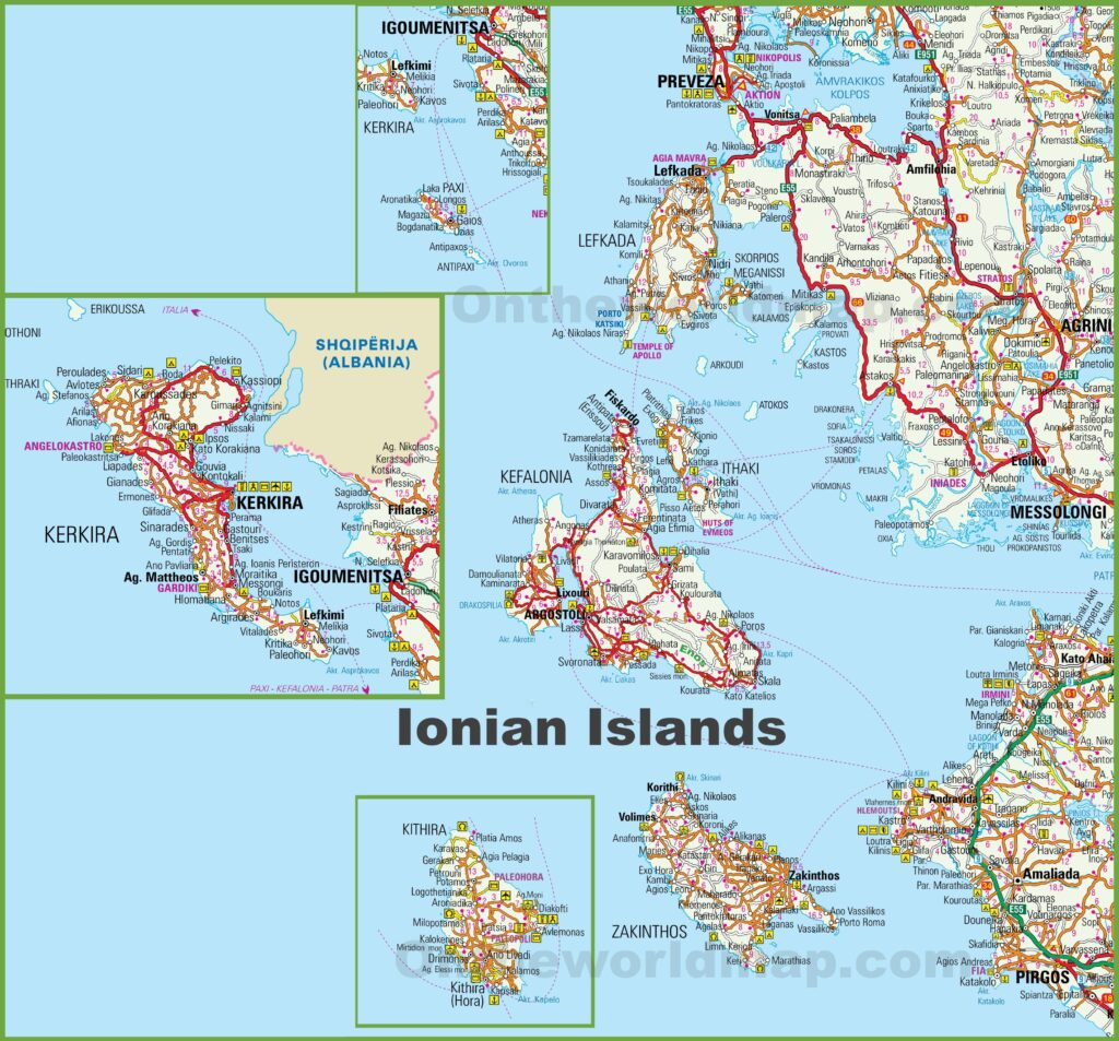 Map of the Ionian Islands Greece