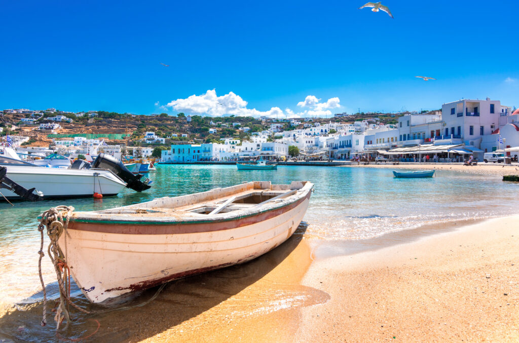 Mykonos port with small boats, Cyclades Greece