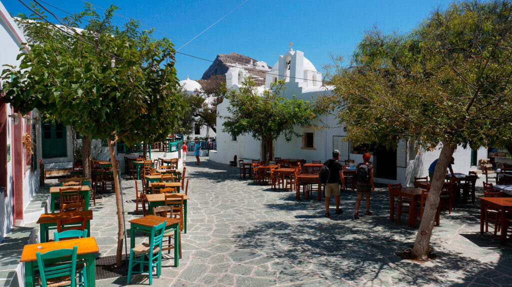 Picturesque village square in Folegandros, Cyclades, Greece