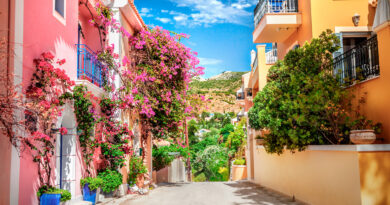 Street in Assos village Kefalonia Greece