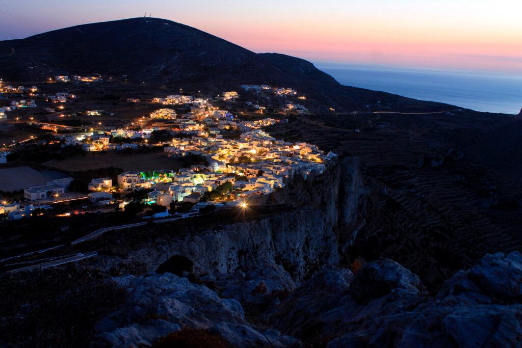 Chora Folegandros by night, Cyclades Greece