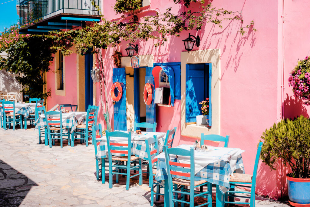 Traditional tavern in Assos village Kefalonia Greece