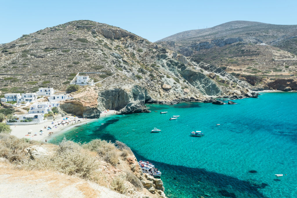 Travel to Folegandros, Greece - amazing and colourful Agali Beach in Folegandros, Cyclades during summer