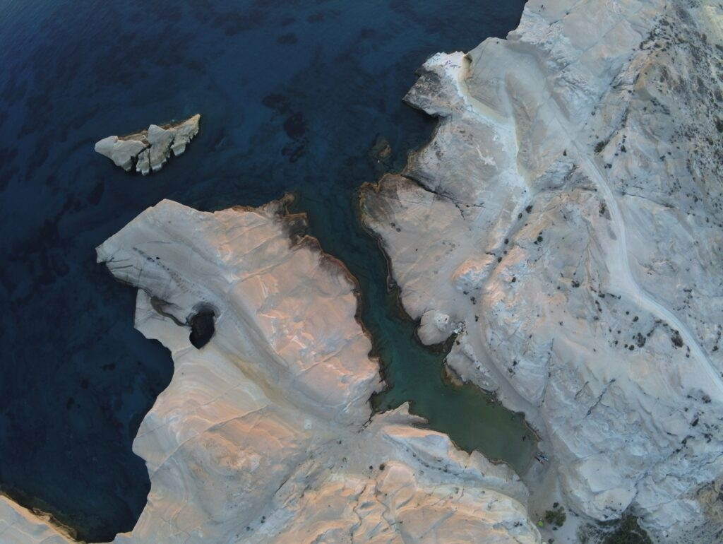 Milos Greece, aerial view of Sarakiniko - Photo Cyprien Delaporte