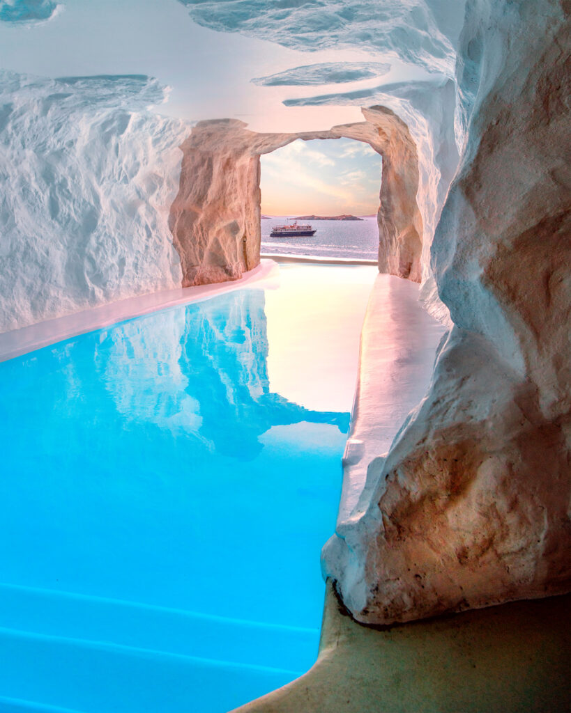 View from boutique hotel in Mykonos island, Cyclades Greece