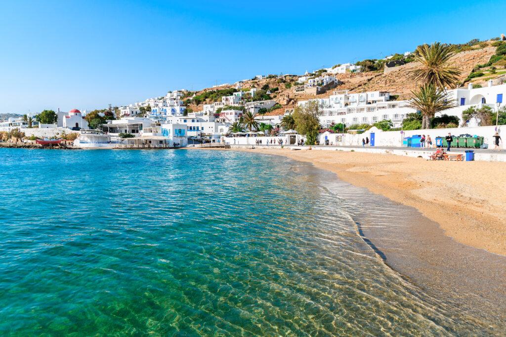View of the beautiful beach in Mykonos port, Mykonos, Cyclades Greece