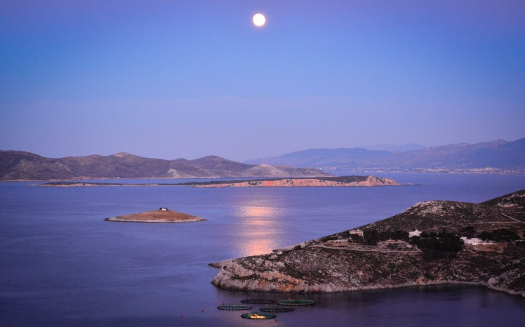 Kalymnos, Dodecanese, Greece - islets in moonshine