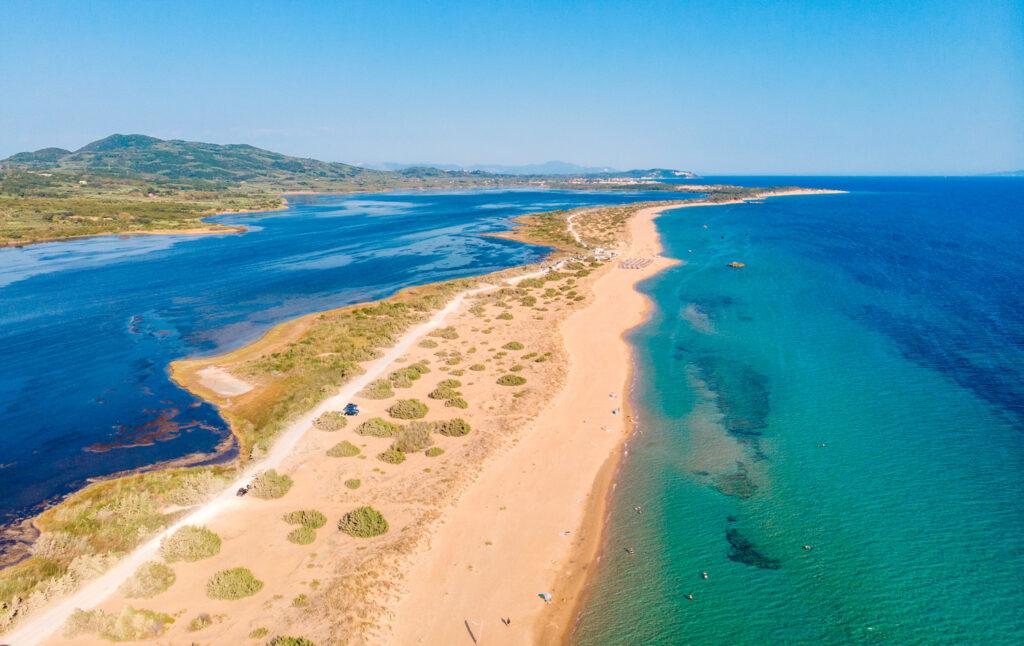 View of Halikounas beach and Lake Korission, Corfu, Ionian Sea Greece