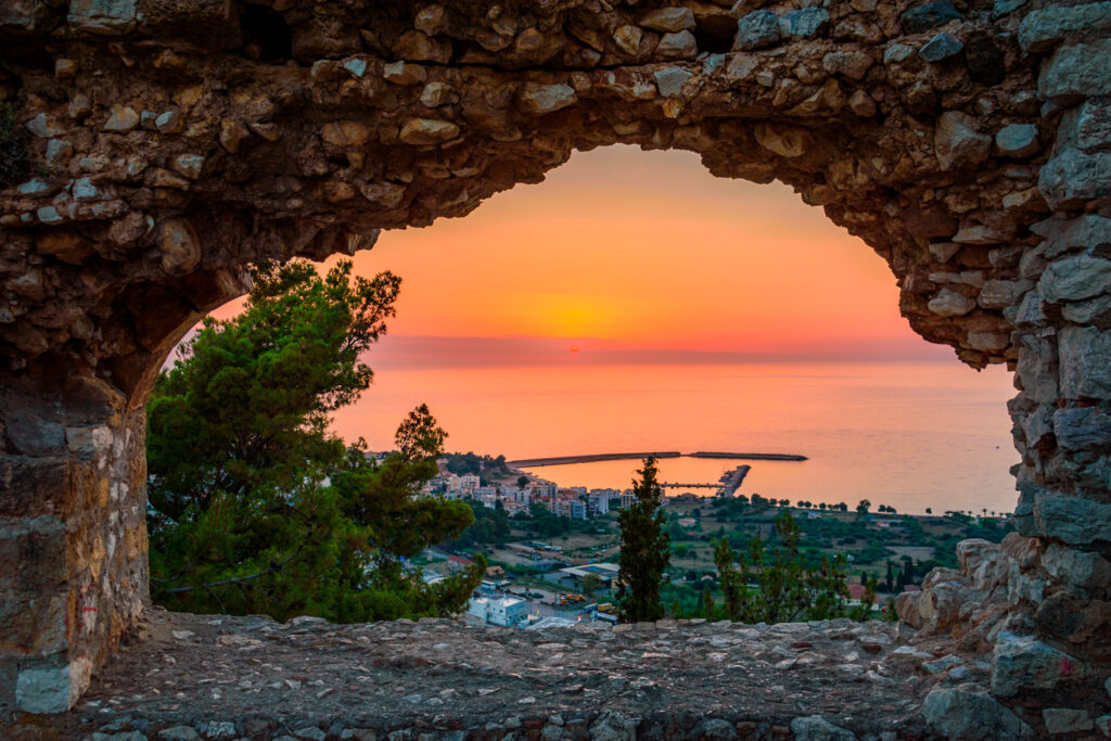 Breathtaking view from the castle over the coastal town of Kyparissia at sunset, Messenia Peloponnese Greece