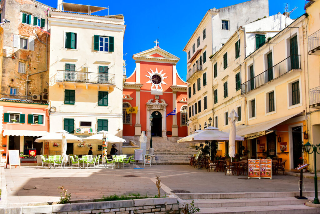 Corfu town main square, Corfu, Ionian Sea Greece