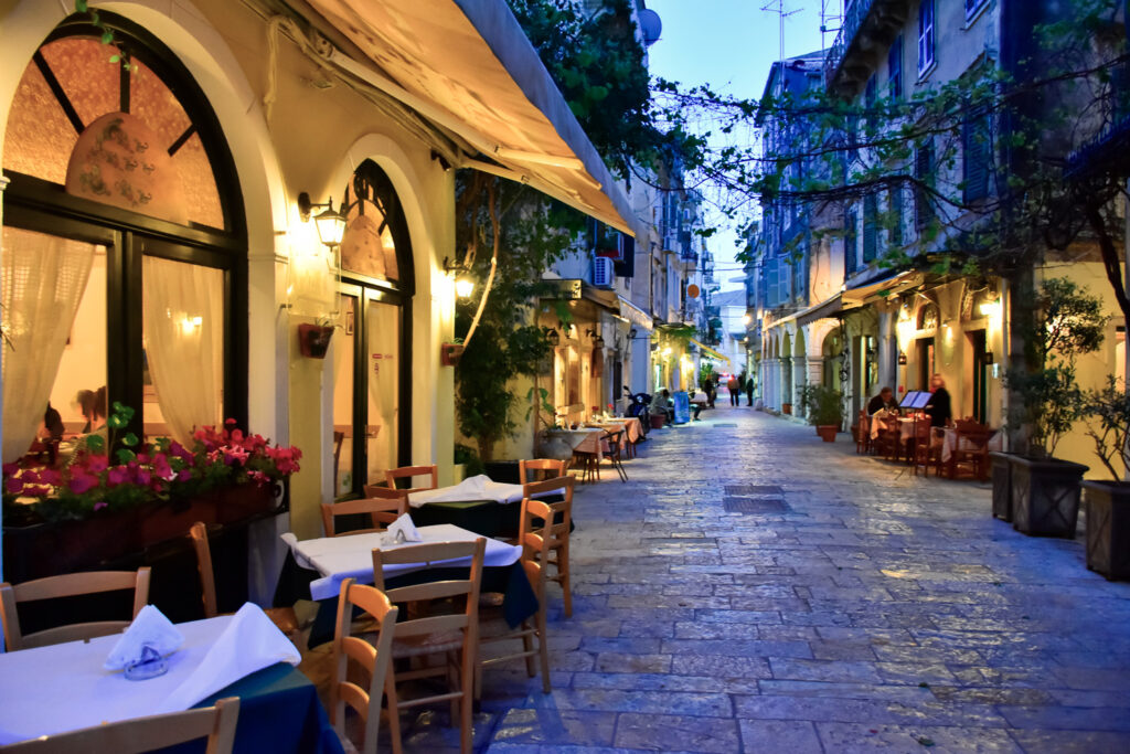 Corfu restaurants at nighttime, Corfu, Ionian Sea Greece