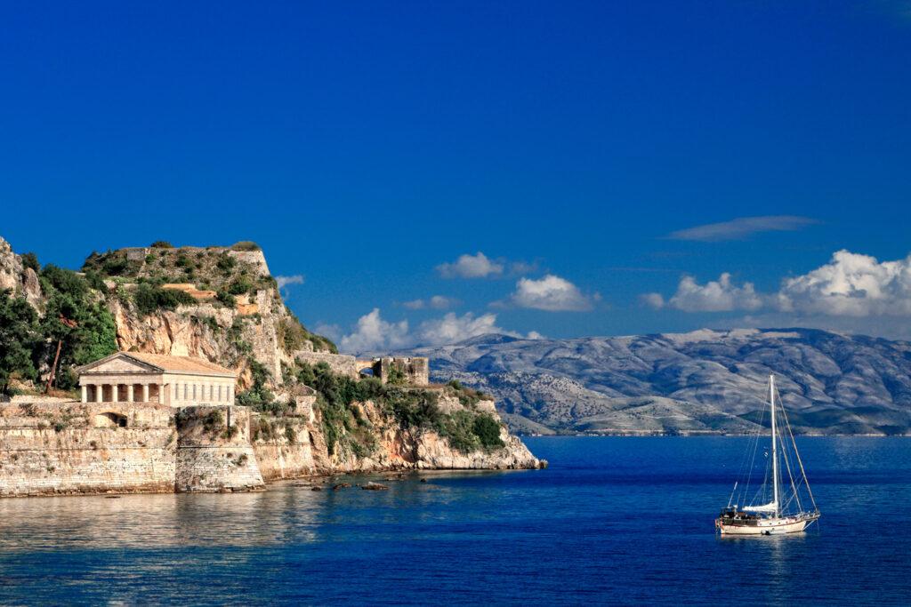 Hellenic temple on the coast in Corfu, Ionian Sea Greece