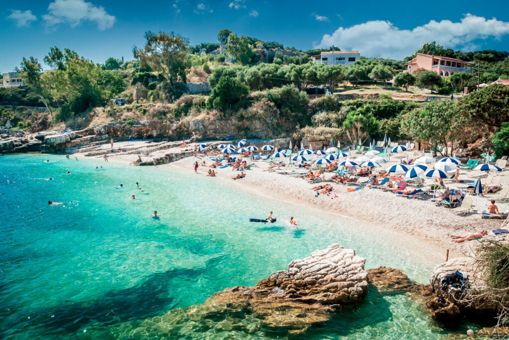 Kassiopi beach in Corfu, Ionian Sea Greece