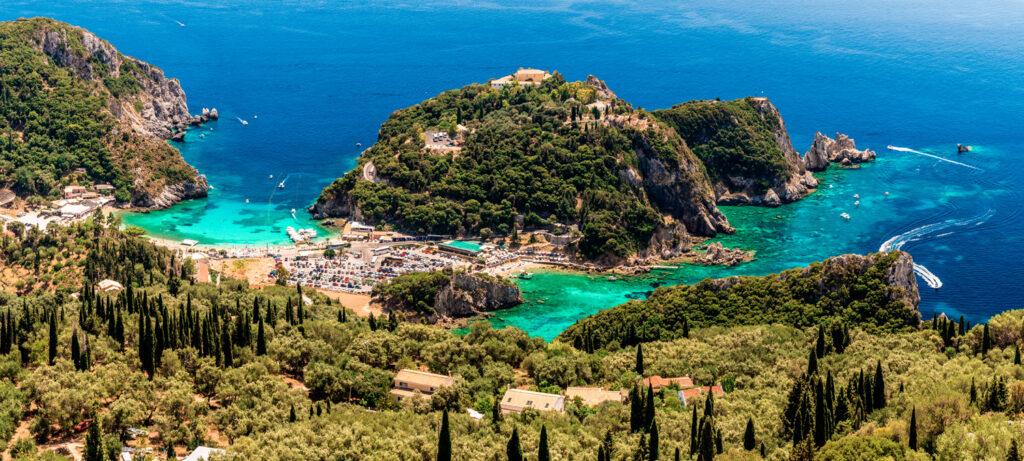 Paleokastritsa Bay in Corfu, Ionian Sea Greece