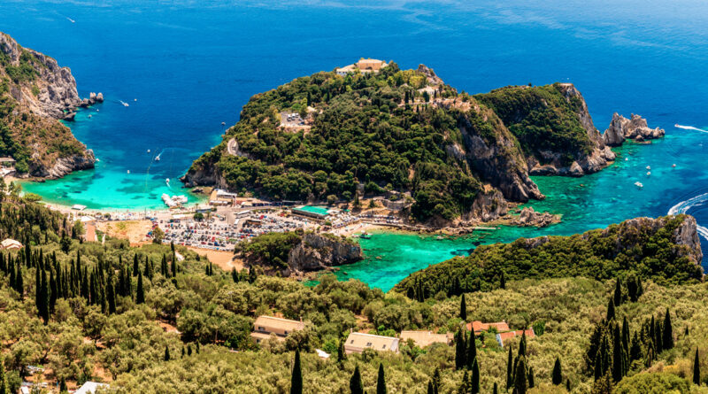 Paleokastritsa Bay in Corfu, Ionian Sea Greece