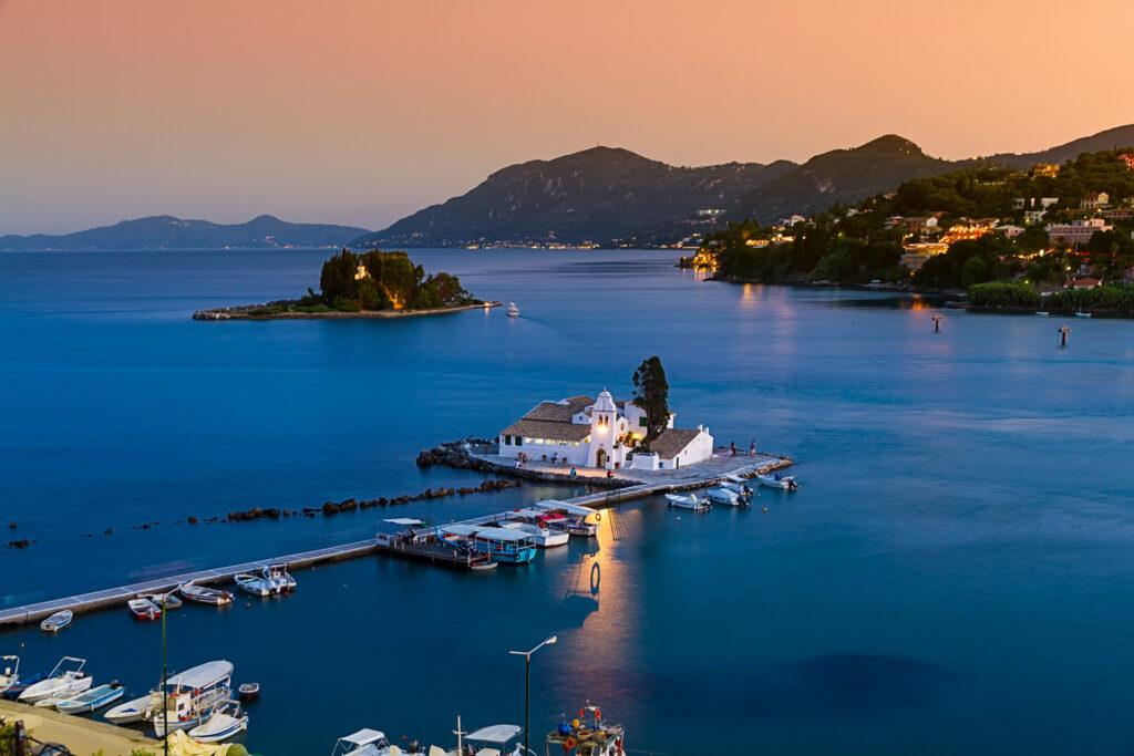 Pontikonisi in the bay of Corfu, Ionian Sea Greece