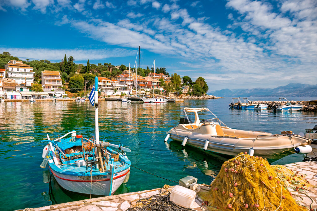 Kassiopi marina in Corfu, Ionian Sea Greece