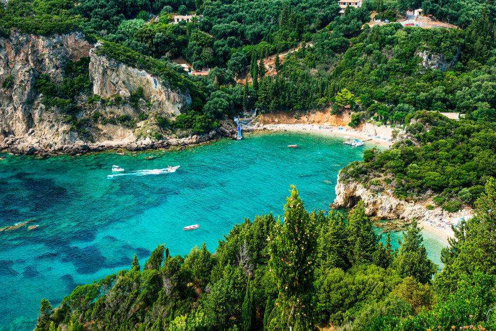 Scenic view of Paleokastritsa Bay in Corfu, Ionian Sea Greece