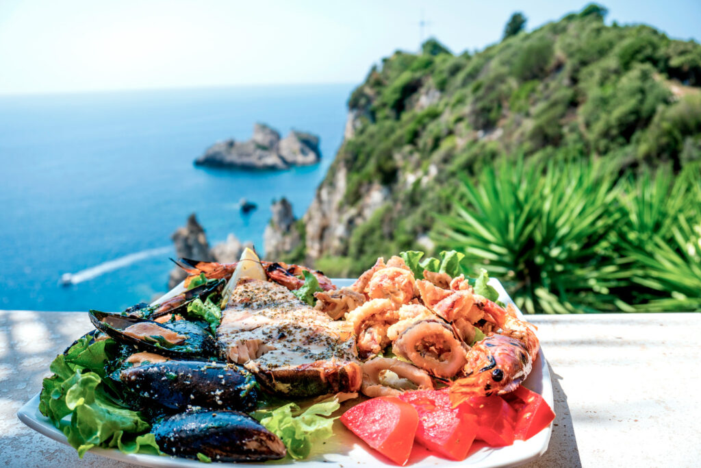 Sea food platter lunch in Corfu, Ionian Sea Greece