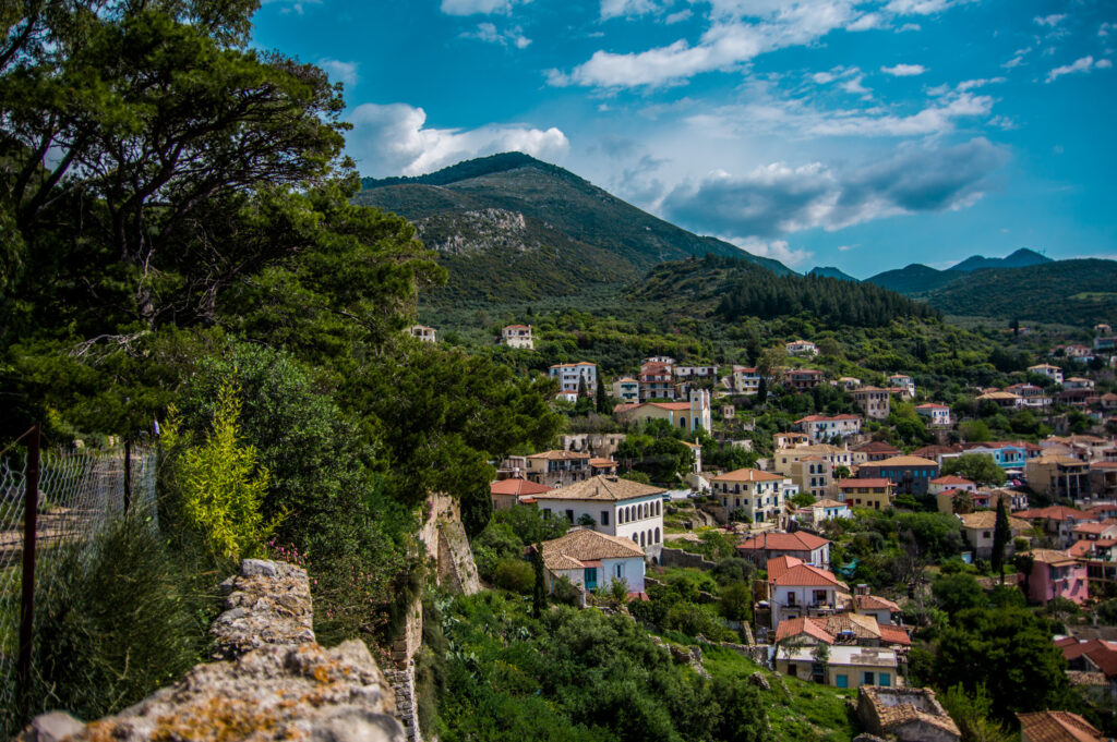 The coastal town of Kyparissia in Peloponnese Greece
