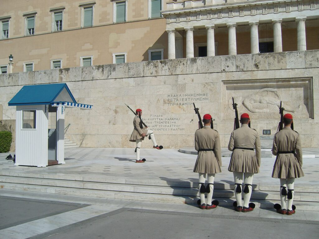 Travel to Athens, Greece - Guards at the Paliament building at Syntagma Square