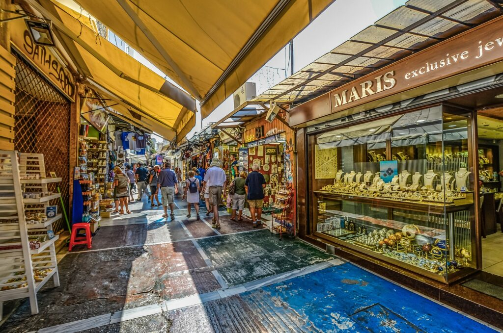 Travel to Athens, Greece - Market street in Plaka