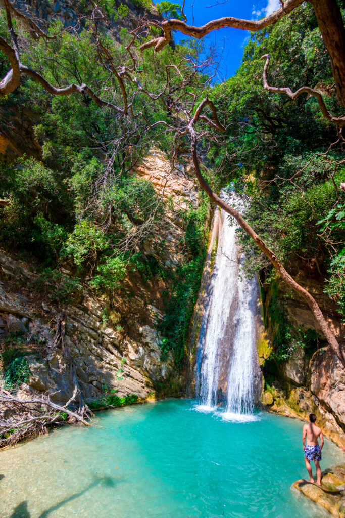 Waterfall in the Neda river in the western Peloponnese in Greece, the only river in Greece with a feminine name