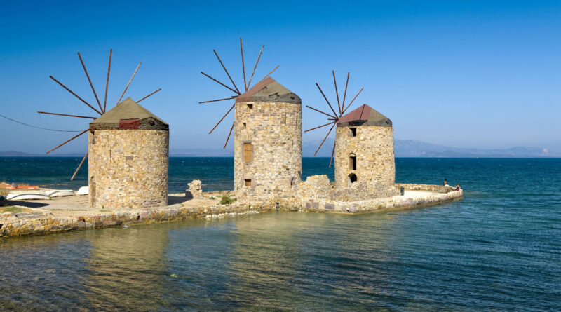 Travel to Chios, Northern Aegean Islands, Greece - windmills