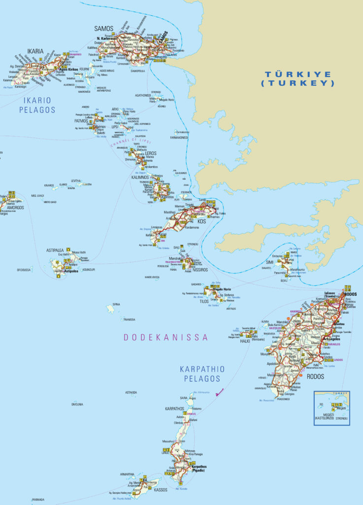 Map of Dodecanese Archipelagos