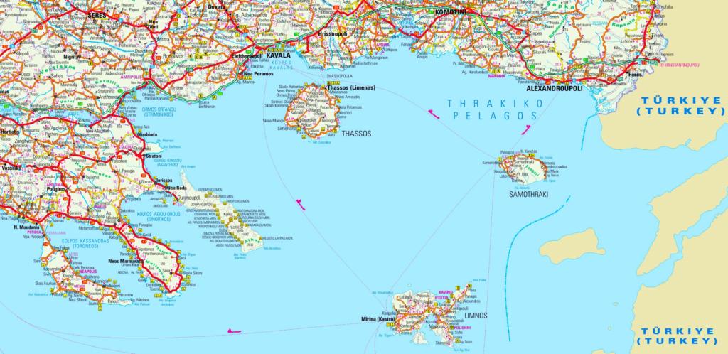 Map of Northern Aegean Sea, Greece