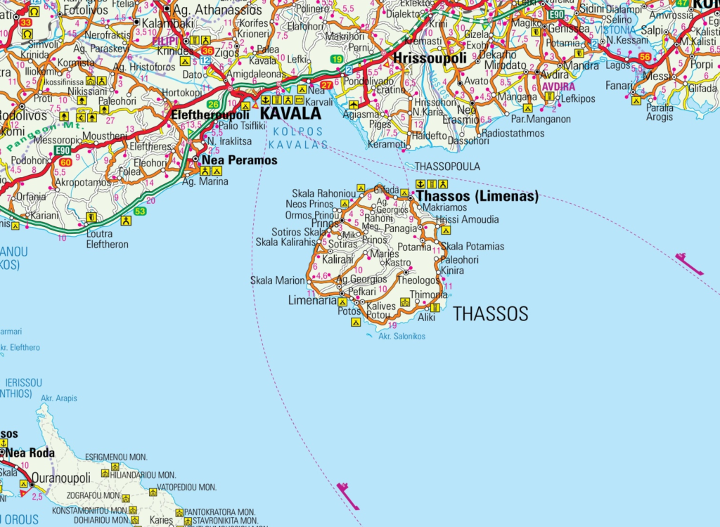 Map of Thassos, Northern Aegean Sea, Greece