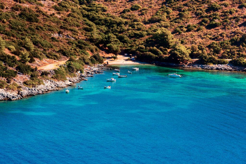 Wild secluded beach, Samos island, Aegean Sea Greece