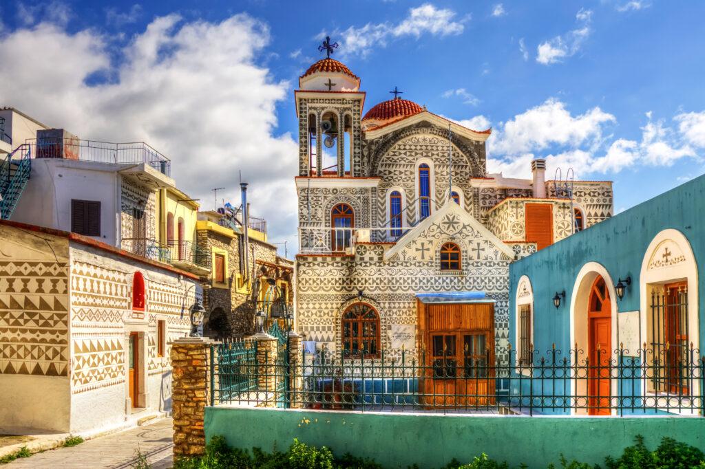 Church of Pirgi in Chios island, North Aegean Sea Greece