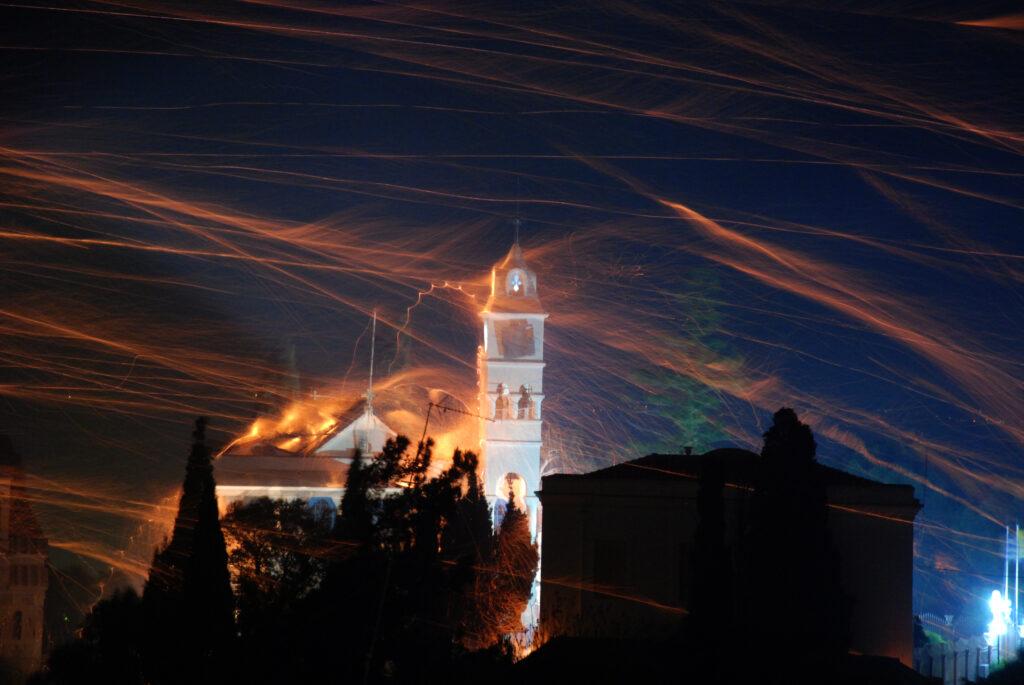 "Easter ""rocket war"" in Chios island, North Aegean Sea Greece"